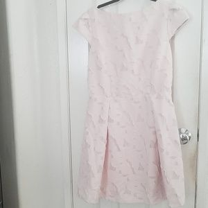 Baby pink floral fit and flair dress